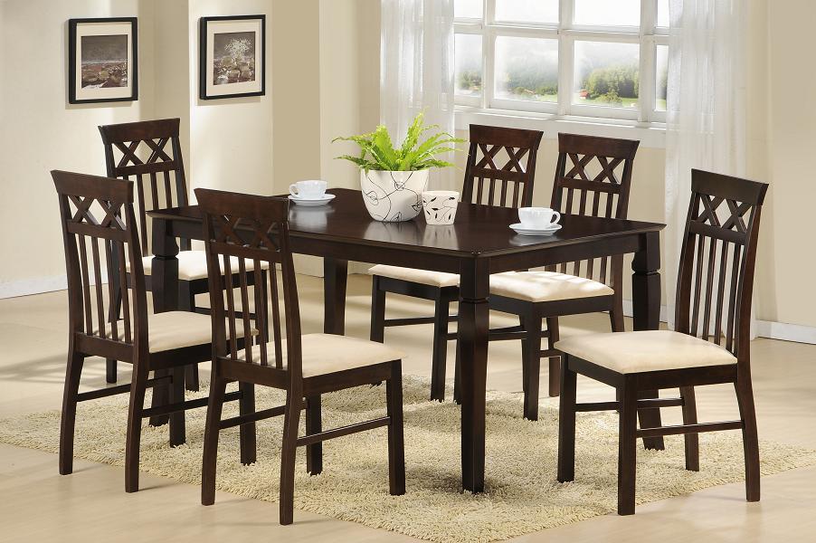 Juego de comedor de madera slyvia con 6 sillas labnash for Comedor 8 sillas madera