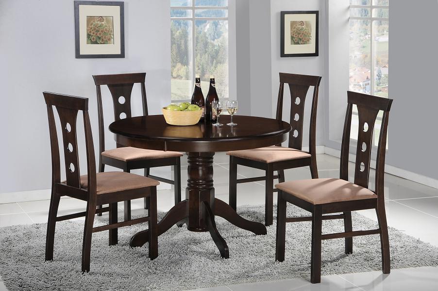 Juego de comedor de madera sienna con 4 sillas labnash for Comedor redondo de madera de 6 sillas