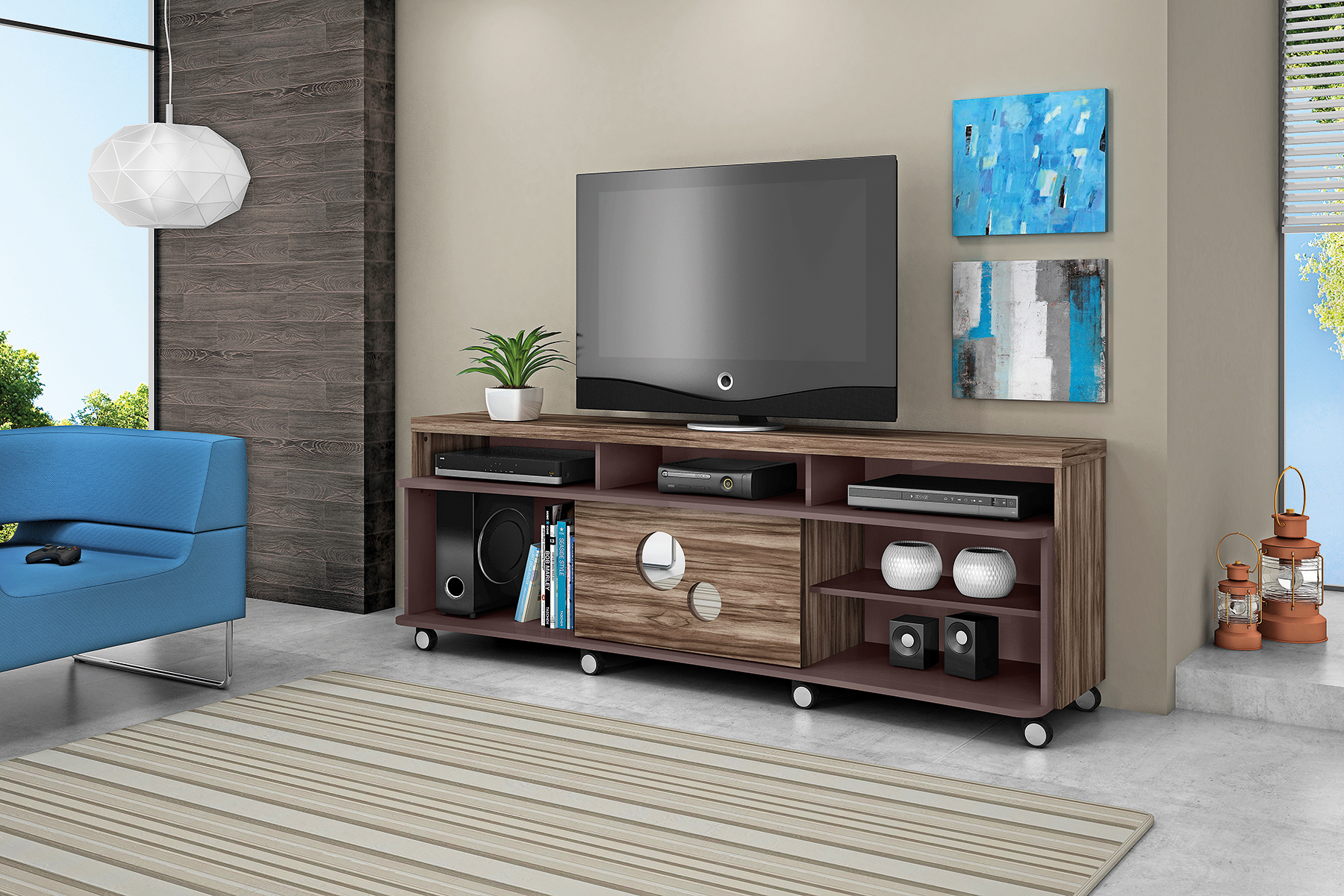 mueble para tv pantalla equipo de sonido hanover cod 5635