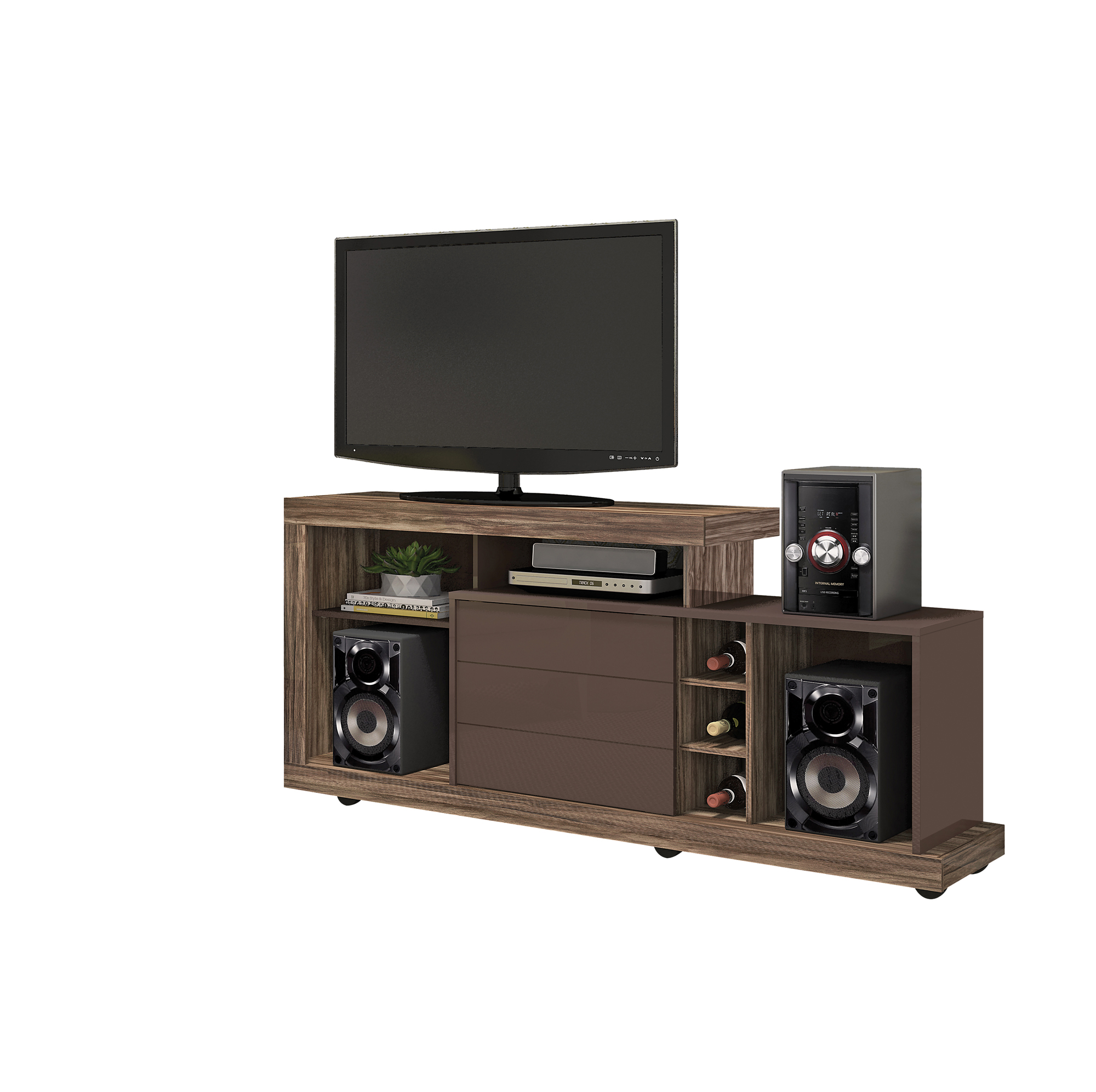 Mueble Para Tv Pantalla Equipo De Sonido Porto Cod 8105  Labnash