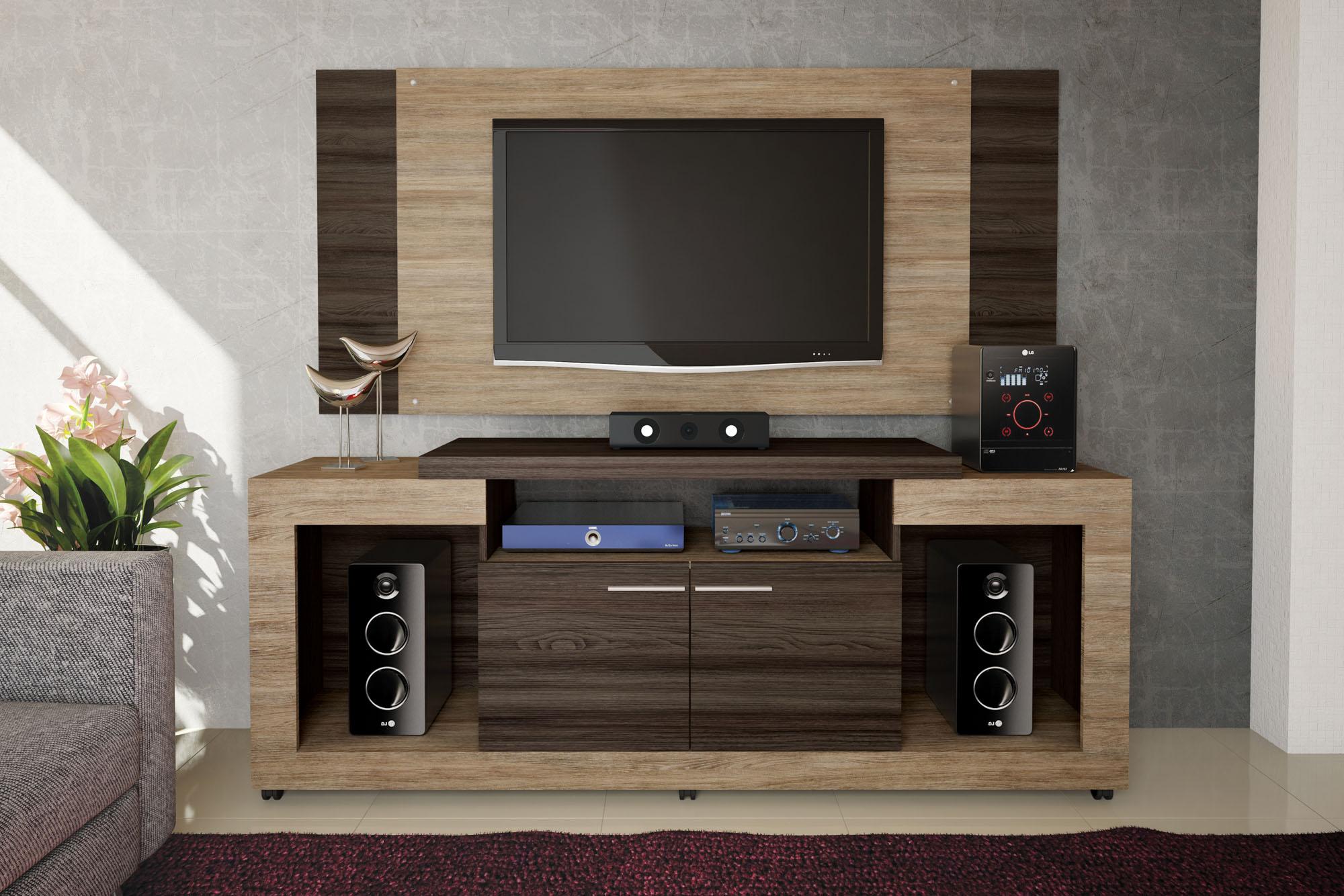 Mueble De Tv Con Panel Y Equipo De Sonido Oscar Labnash # Muebles Caemmun