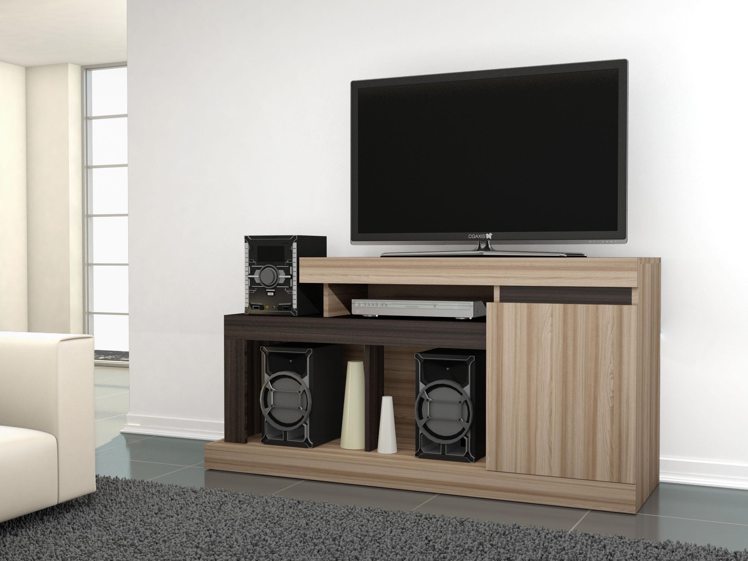 Mueble De Tv Y Equipo De Sonido Tucuri Avellana Capuccino Labnash # Muebles Caemmun