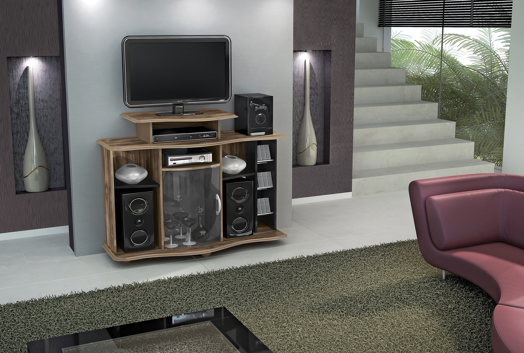 Mueble Para Tv Pantalla Equipo De Sonido Milao Cod 5165 Labnash # Muebles Tasa Cero